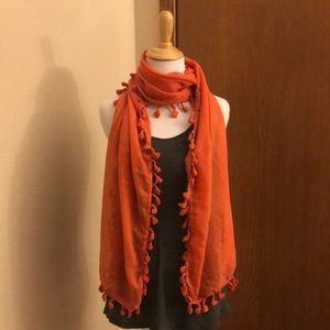 Accessories - Orange Fringe Scarf